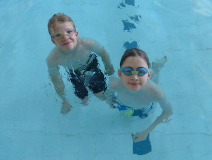 Pupils in the pool at Wharfedale Montessori Swimming gala
